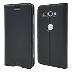 Custodia Portafoglio In Pelle Cover con Supporto P01 per Sony Xperia XZ2 Compact Nero