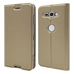 Custodia Portafoglio In Pelle Cover con Supporto P01 per Sony Xperia XZ2 Compact Oro