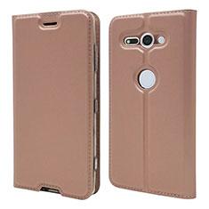 Custodia Portafoglio In Pelle Cover con Supporto P01 per Sony Xperia XZ2 Compact Oro Rosa