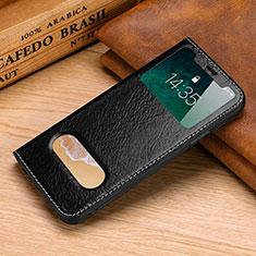 Custodia Portafoglio In Pelle Cover con Supporto P02 per Apple iPhone Xs Nero