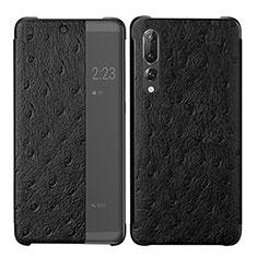 Custodia Portafoglio In Pelle Cover con Supporto P02 per Huawei P20 Pro Nero