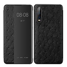 Custodia Portafoglio In Pelle Cover con Supporto P02 per Huawei P30 Nero