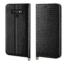 Custodia Portafoglio In Pelle Cover con Supporto P04 per Samsung Galaxy Note 9 Nero