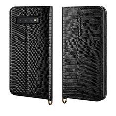 Custodia Portafoglio In Pelle Cover con Supporto P04 per Samsung Galaxy S10 Plus Nero