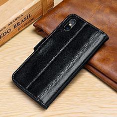 Custodia Portafoglio In Pelle Cover con Supporto P05 per Apple iPhone Xs Nero