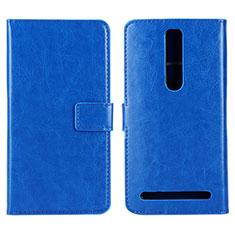 Custodia Portafoglio In Pelle Cover con Supporto per Asus Zenfone 2 ZE551ML ZE550ML Blu