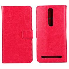 Custodia Portafoglio In Pelle Cover con Supporto per Asus Zenfone 2 ZE551ML ZE550ML Rosa Caldo