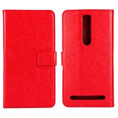 Custodia Portafoglio In Pelle Cover con Supporto per Asus Zenfone 2 ZE551ML ZE550ML Rosso