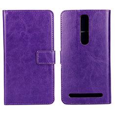 Custodia Portafoglio In Pelle Cover con Supporto per Asus Zenfone 2 ZE551ML ZE550ML Viola