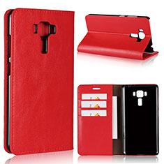 Custodia Portafoglio In Pelle Cover con Supporto per Asus Zenfone 3 Laser Rosso