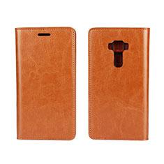 Custodia Portafoglio In Pelle Cover con Supporto per Asus Zenfone 3 ZE552KL Arancione