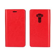 Custodia Portafoglio In Pelle Cover con Supporto per Asus Zenfone 3 ZE552KL Rosso