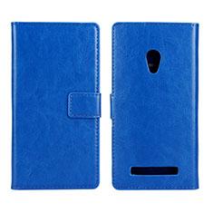 Custodia Portafoglio In Pelle Cover con Supporto per Asus Zenfone 5 Blu