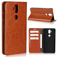 Custodia Portafoglio In Pelle Cover con Supporto per Asus Zenfone 5 Lite ZC600KL Arancione