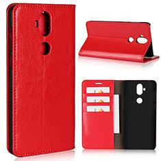 Custodia Portafoglio In Pelle Cover con Supporto per Asus Zenfone 5 Lite ZC600KL Rosso