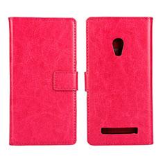 Custodia Portafoglio In Pelle Cover con Supporto per Asus Zenfone 5 Rosa Caldo