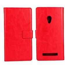 Custodia Portafoglio In Pelle Cover con Supporto per Asus Zenfone 5 Rosso