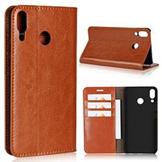 Custodia Portafoglio In Pelle Cover con Supporto per Asus Zenfone 5z ZS620KL Arancione