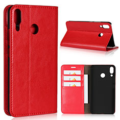 Custodia Portafoglio In Pelle Cover con Supporto per Asus Zenfone 5z ZS620KL Rosso
