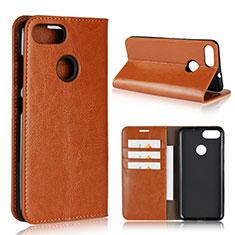 Custodia Portafoglio In Pelle Cover con Supporto per Asus Zenfone Max Plus M1 ZB570TL Arancione