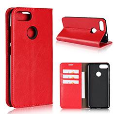 Custodia Portafoglio In Pelle Cover con Supporto per Asus Zenfone Max Plus M1 ZB570TL Rosso