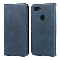 Custodia Portafoglio In Pelle Cover con Supporto per Google Pixel 3a Blu