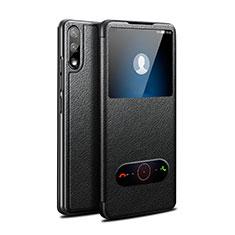 Custodia Portafoglio In Pelle Cover con Supporto per Huawei Enjoy 10 Nero