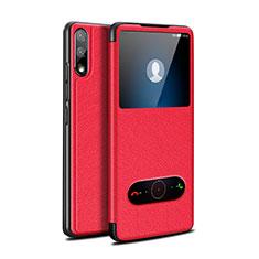 Custodia Portafoglio In Pelle Cover con Supporto per Huawei Enjoy 10 Rosso
