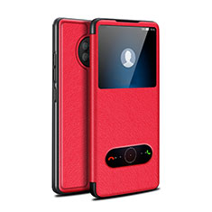 Custodia Portafoglio In Pelle Cover con Supporto per Huawei Enjoy 20 Plus 5G Rosso
