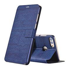 Custodia Portafoglio In Pelle Cover con Supporto per Huawei Enjoy 8 Plus Blu