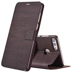 Custodia Portafoglio In Pelle Cover con Supporto per Huawei Enjoy 8 Plus Marrone