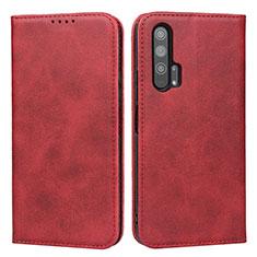 Custodia Portafoglio In Pelle Cover con Supporto per Huawei Honor 20 Pro Rosso