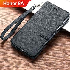 Custodia Portafoglio In Pelle Cover con Supporto per Huawei Honor 8A Nero