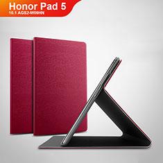 Custodia Portafoglio In Pelle Cover con Supporto per Huawei Honor Pad 5 10.1 AGS2-W09HN AGS2-AL00HN Rosso