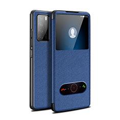 Custodia Portafoglio In Pelle Cover con Supporto per Huawei Honor Play4 5G Blu