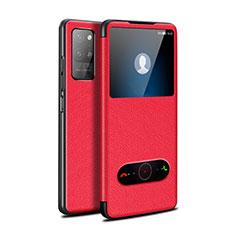 Custodia Portafoglio In Pelle Cover con Supporto per Huawei Honor Play4 Pro 5G Rosso