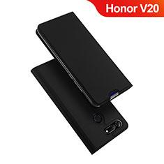 Custodia Portafoglio In Pelle Cover con Supporto per Huawei Honor View 20 Nero