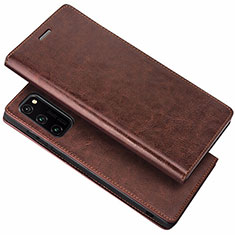 Custodia Portafoglio In Pelle Cover con Supporto per Huawei Honor View 30 5G Marrone