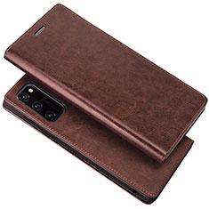 Custodia Portafoglio In Pelle Cover con Supporto per Huawei Honor View 30 Pro 5G Marrone