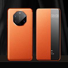 Custodia Portafoglio In Pelle Cover con Supporto per Huawei Mate 40 RS Arancione