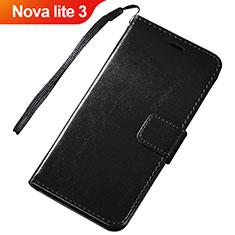 Custodia Portafoglio In Pelle Cover con Supporto per Huawei Nova Lite 3 Nero
