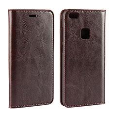Custodia Portafoglio In Pelle Cover con Supporto per Huawei P10 Lite Marrone