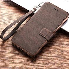 Custodia Portafoglio In Pelle Cover con Supporto per Huawei Y6s Marrone