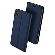 Custodia Portafoglio In Pelle Cover con Supporto per Huawei Y7 Prime (2019) Blu