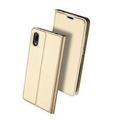 Custodia Portafoglio In Pelle Cover con Supporto per Huawei Y7 Prime (2019) Oro
