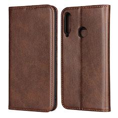 Custodia Portafoglio In Pelle Cover con Supporto per Huawei Y7p Marrone