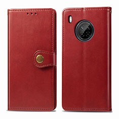 Custodia Portafoglio In Pelle Cover con Supporto per Huawei Y9a Rosso