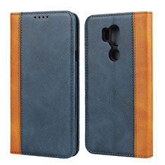 Custodia Portafoglio In Pelle Cover con Supporto per LG G7 Blu