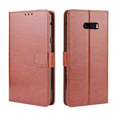 Custodia Portafoglio In Pelle Cover con Supporto per LG G8X ThinQ Marrone