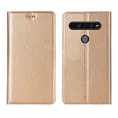 Custodia Portafoglio In Pelle Cover con Supporto per LG K51S Oro